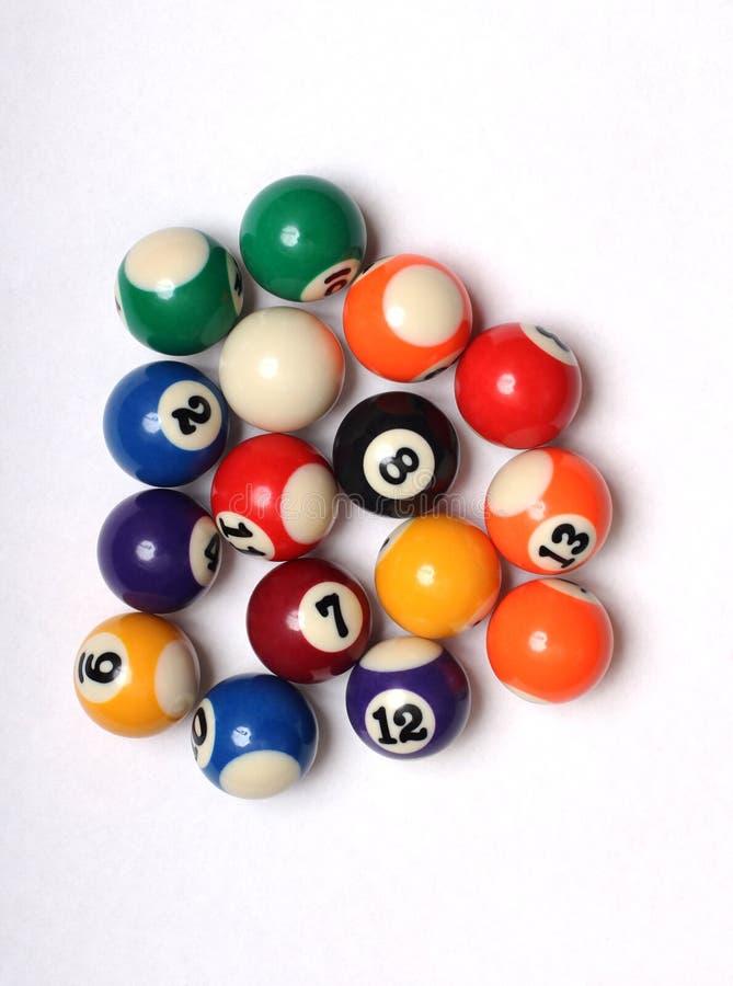 Flerfärgade kulor för snooker fem royaltyfria foton