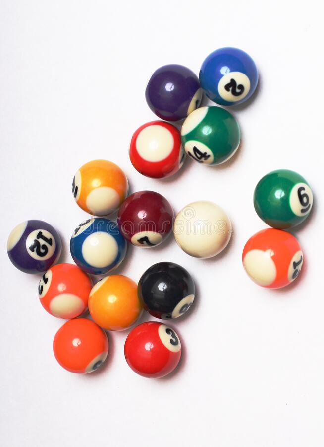 Flerfärgade kulor för snooker fyra arkivfoton