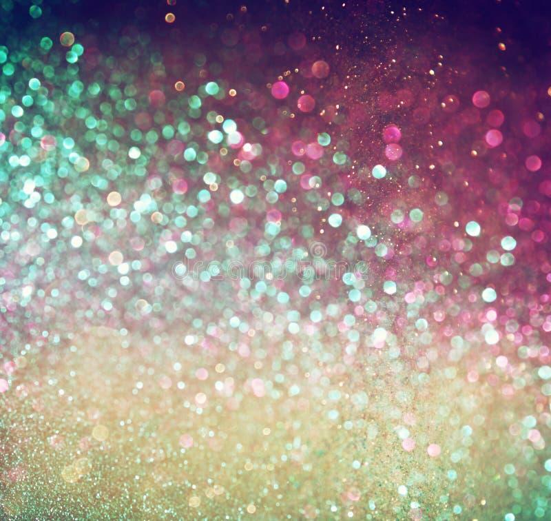 Flerfärgade ljus för tappningstilbokeh Defocused abstrakt bakgrund fotografering för bildbyråer