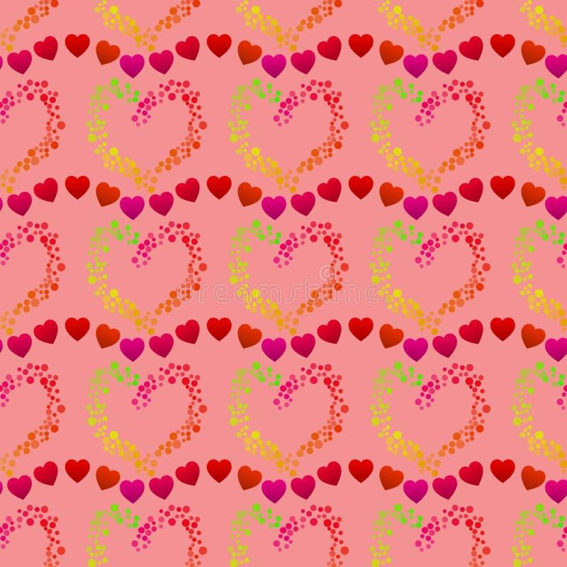 Flerfärgade prickar som bildar en hjärtaform och linjer av små röda hjärtor, en sömlös romantisk modell på en rosa bakgrund royaltyfri illustrationer