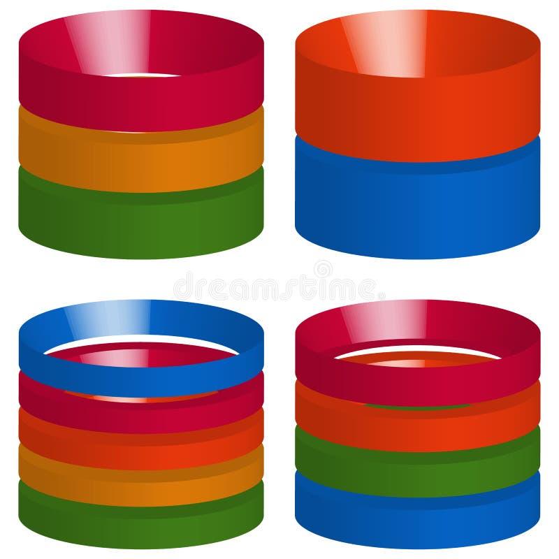 Flerfärgade segmenterade 3d cylindrar, cylindersymboler beståndsdelar för royaltyfri illustrationer