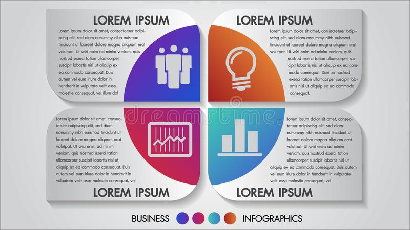 Flerfärgat begrepp för design för alternativ för infographics 4 för vektorillustrationaffär Mall för broschyr, affär, utrymme för royaltyfri illustrationer