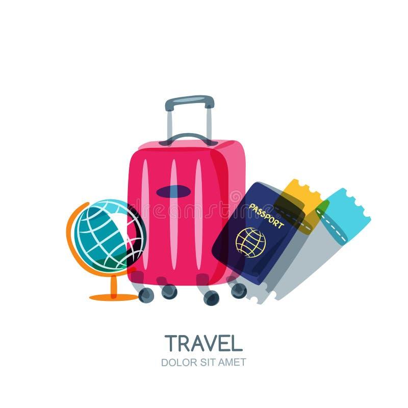 Flerfärgat jordklot, bagageresväska, pass och flygplanbiljetter Isolerad illustration för vektor klotter vektor illustrationer