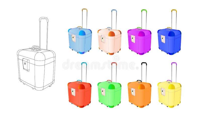 Flerfärgat stort för fastställda resväskor för lopp plast- med hjul Idérik vektorillustration av isolerat på vit bakgrund Abstrak stock illustrationer