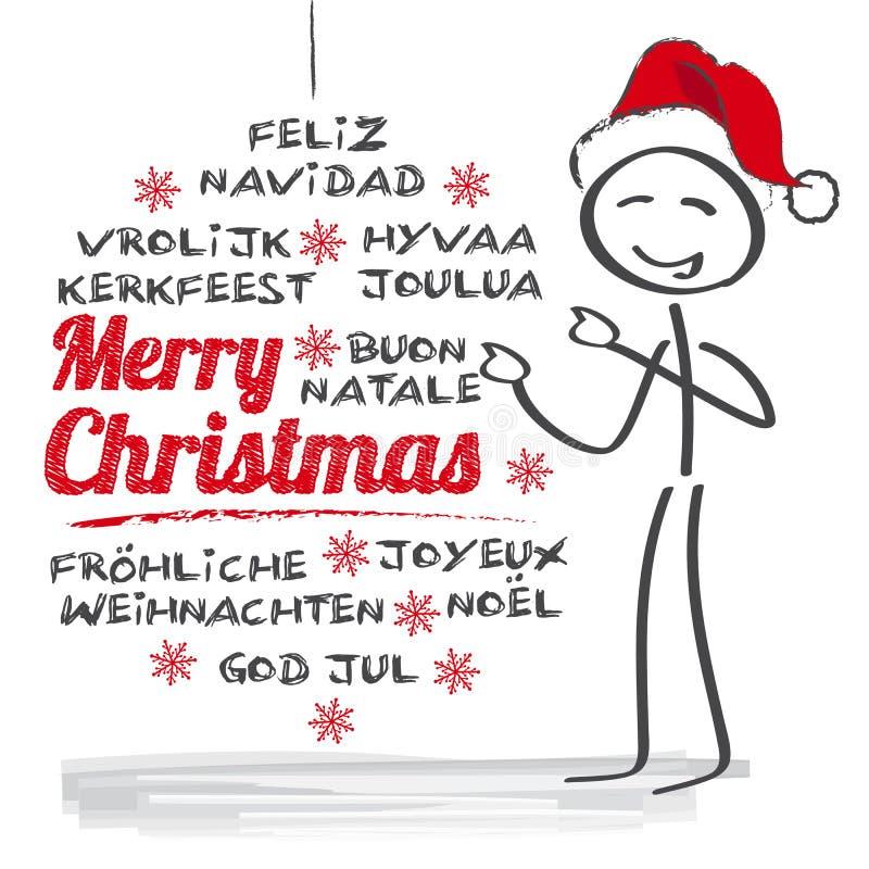 Flerspråkig glad jul stock illustrationer