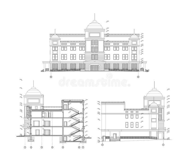 Flervånings- byggande fasad och avsnitt, detaljerad arkitektonisk teknisk teckning, vektorritning royaltyfri illustrationer