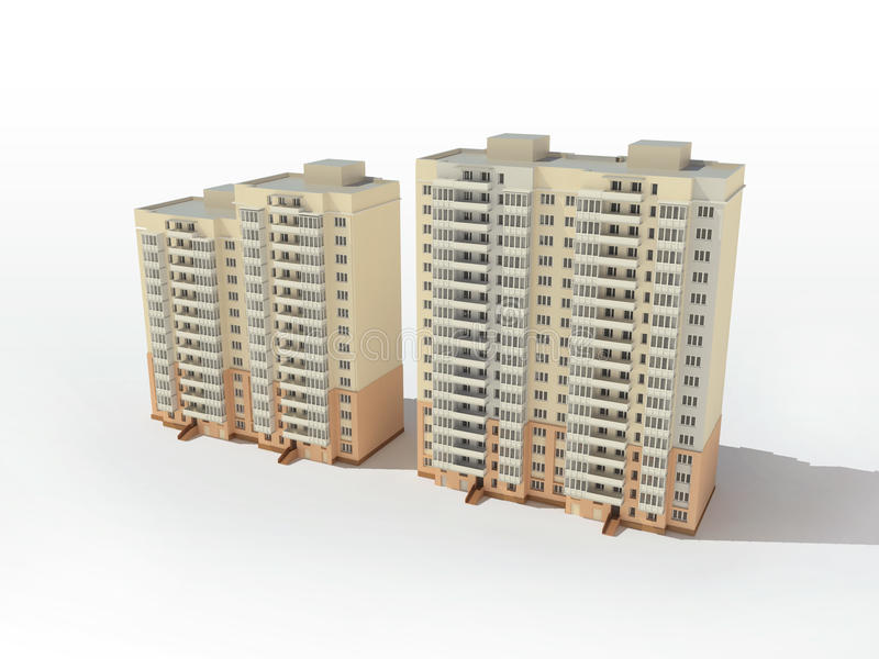 flervånings- projekt för hus royaltyfri illustrationer