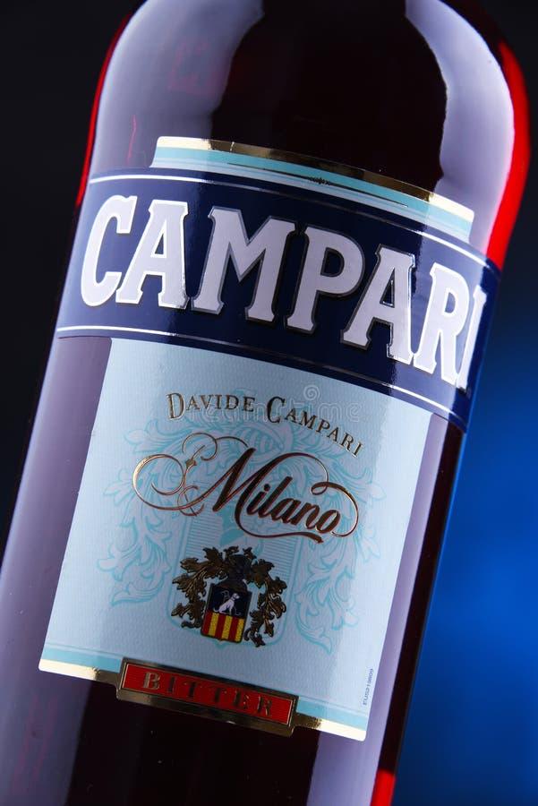 Fles Campari, een alcoholische likeur van Italië royalty-vrije stock afbeelding
