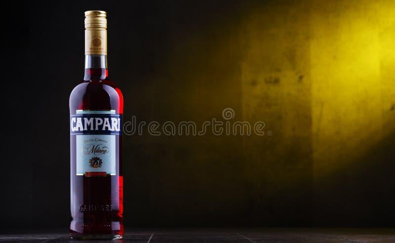 Fles Campari, een alcoholische likeur van Italië royalty-vrije stock foto