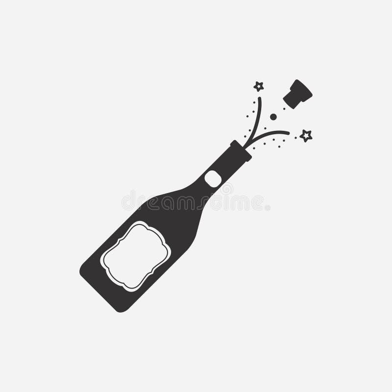 Fles champagne met cork Vector illustratie stock illustratie