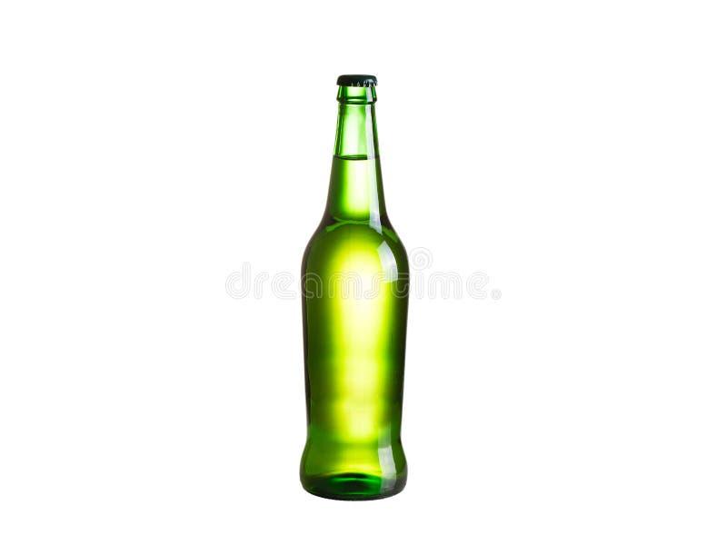 Fles cider, op witte achtergrond wordt geïsoleerd die royalty-vrije stock fotografie