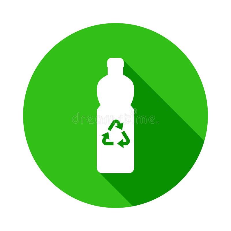 fles die groen pictogram in Kentekenstijl recycleren met schaduw stock illustratie