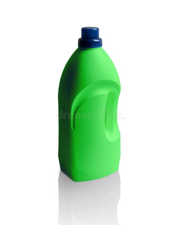 Fles dishwashing vloeistof op wit wordt geïsoleerd dat royalty-vrije stock afbeelding