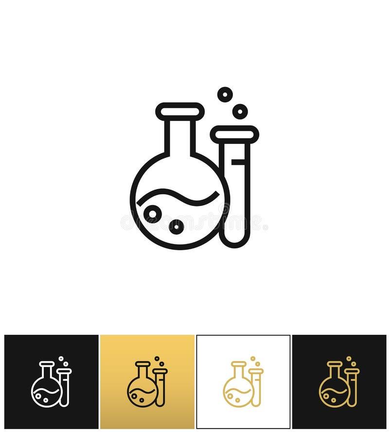 Fles en beker het vectorpictogram van het materiaallaboratorium stock illustratie