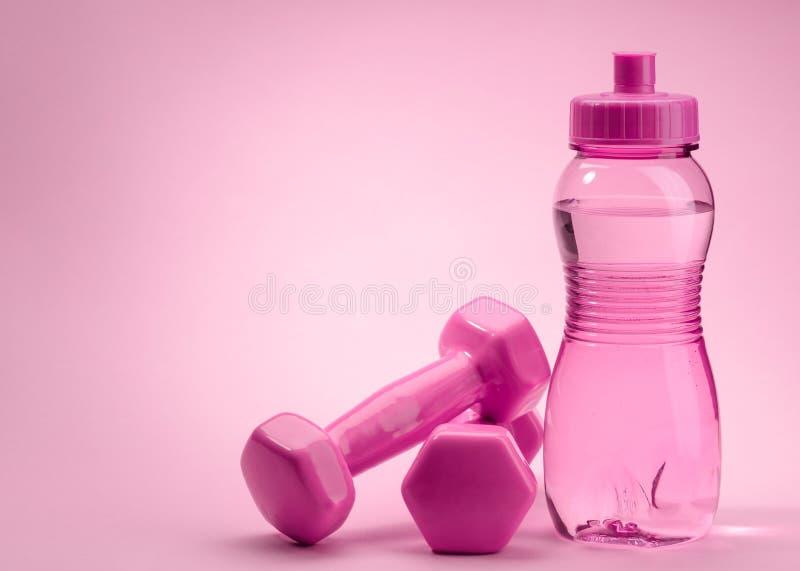 Fles en domoren op roze royalty-vrije stock afbeeldingen