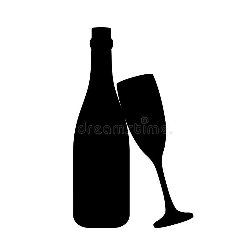 Fles en een glas van champagnepictogram, embleem, teken, embleem - vector stock illustratie