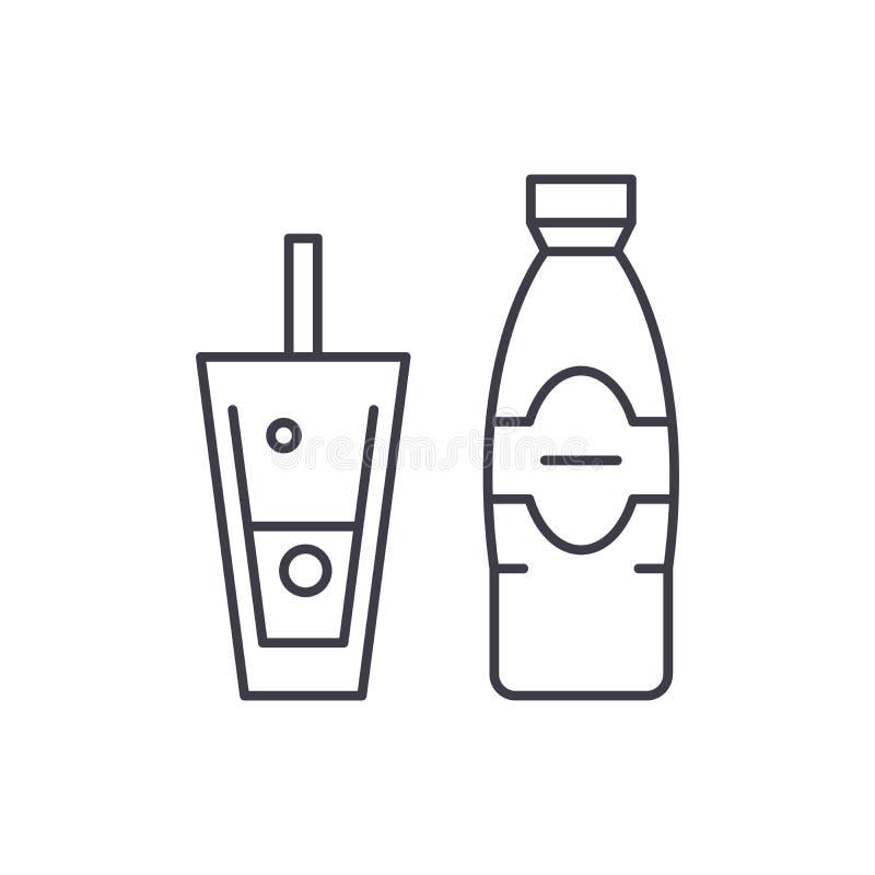 Fles en glas van het pictogramconcept van de mineraalwaterlijn Fles en glas van mineraalwater vector lineaire illustratie vector illustratie