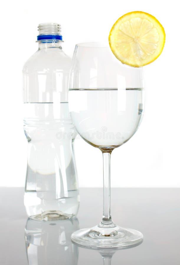 Fles en glas water met citroenplak royalty-vrije stock fotografie