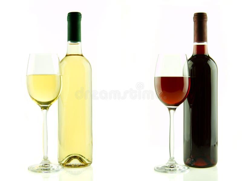 Fles en glas witte en rode geïsoleerde wijn stock foto's
