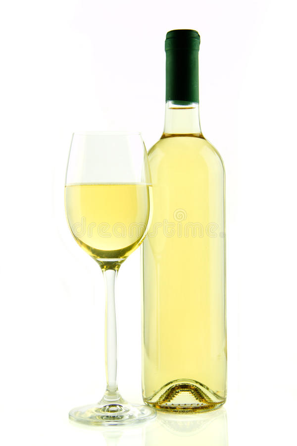 Fles en glas witte geïsoleerde wijn royalty-vrije stock foto