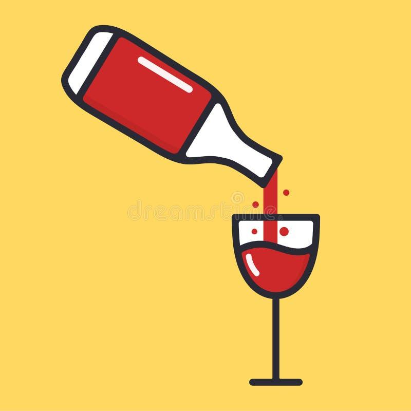 Fles en wijnglas met rode wijn Giet in een glas Alcoholdrank Het pictogram van de beeldverhaalalcohol Vector vlakke illustratie royalty-vrije illustratie