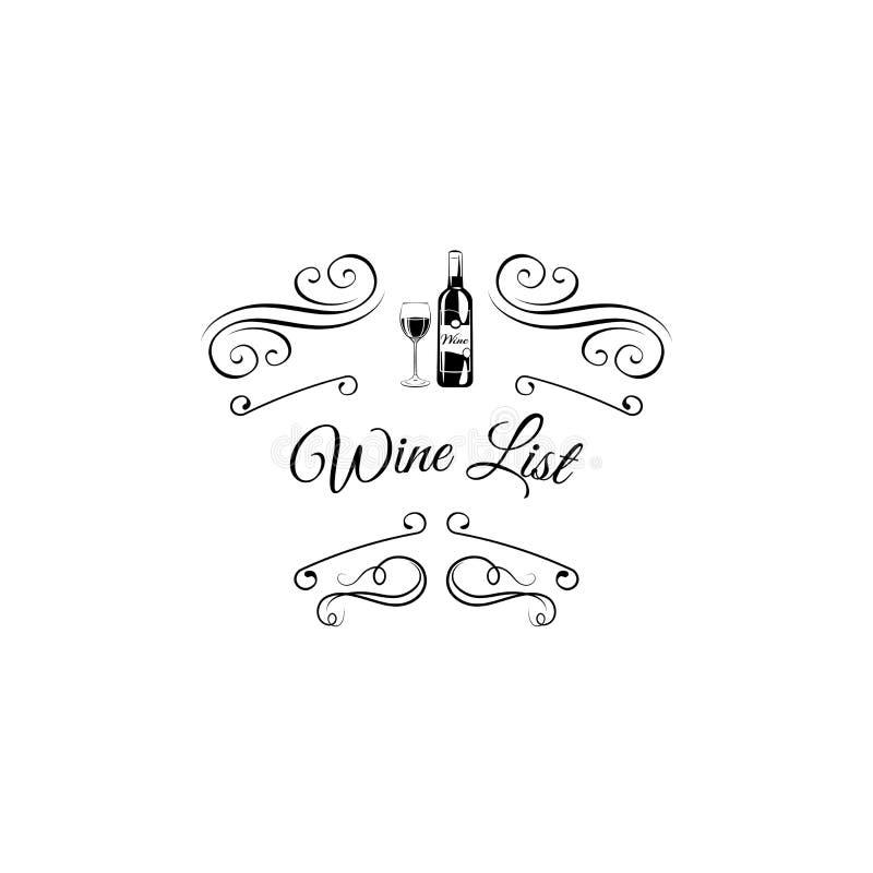 Fles en wijnglaspictogram Het ontwerp van de wijnlijst met wervelingen Vector illustratie stock illustratie