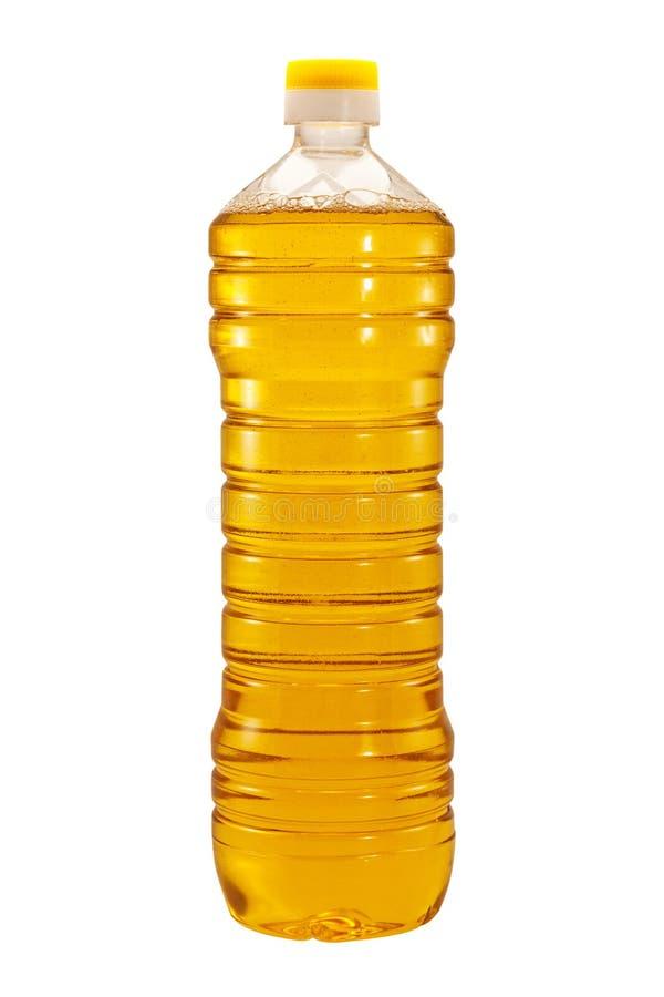 Fles geïsoleerdee zonnebloemolie stock afbeelding