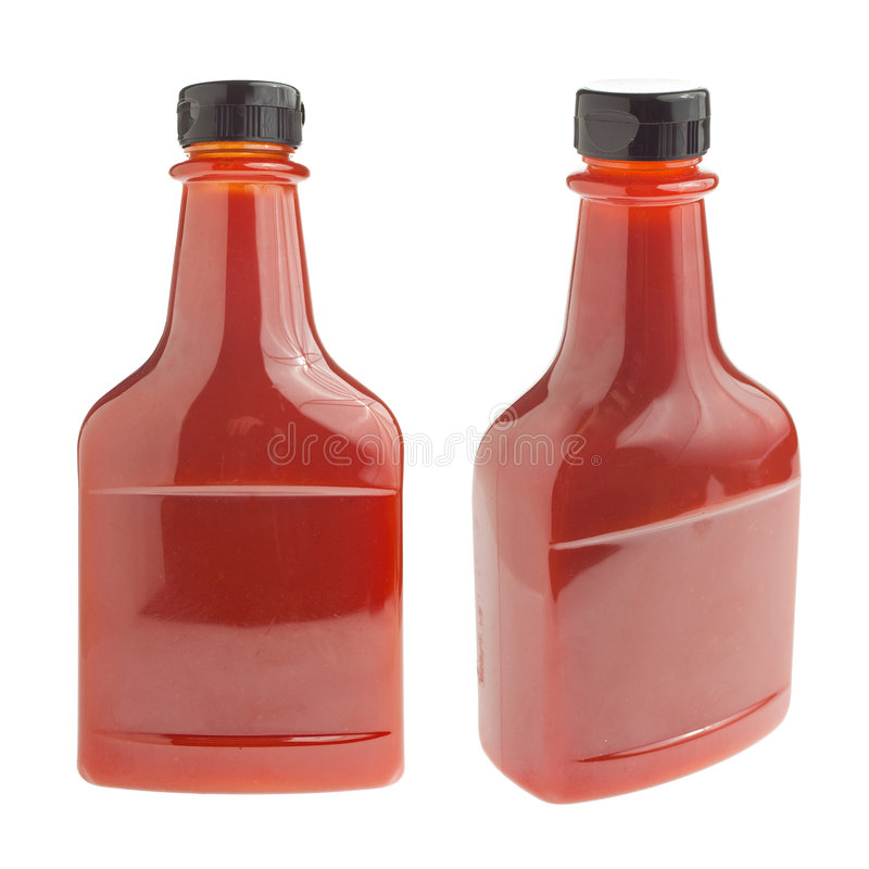 Fles ketchup op wit royalty-vrije stock foto