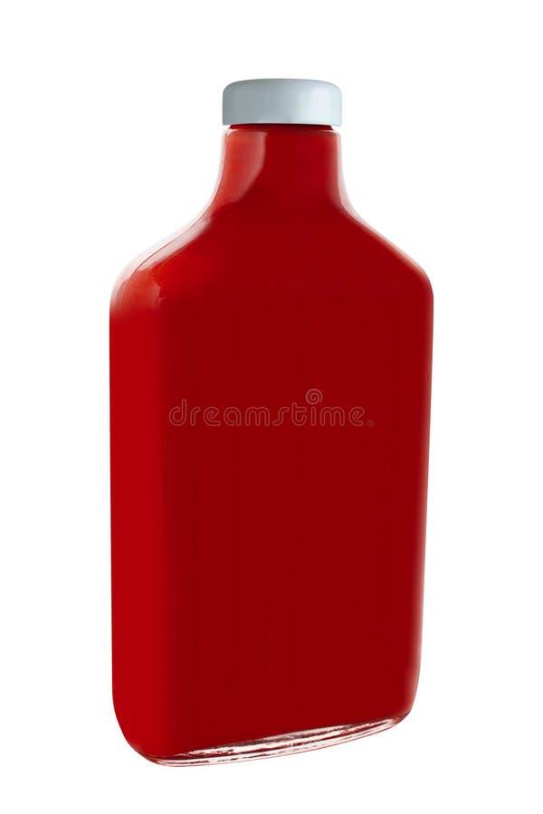 Fles Ketchup op wit wordt geïsoleerd dat stock fotografie