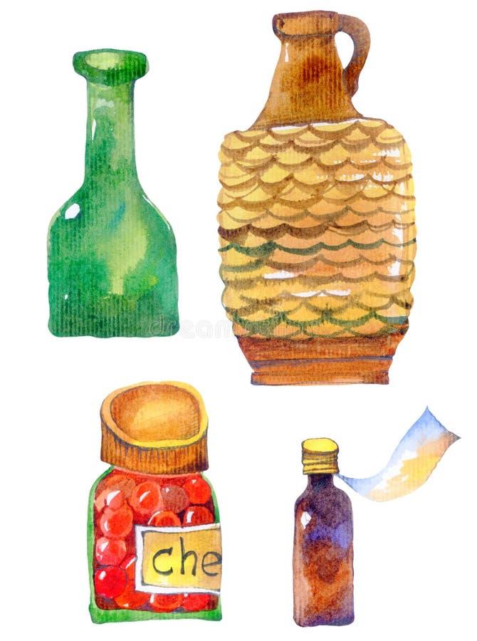 Fles, kleikruik, kruik jam, flesje vector illustratie