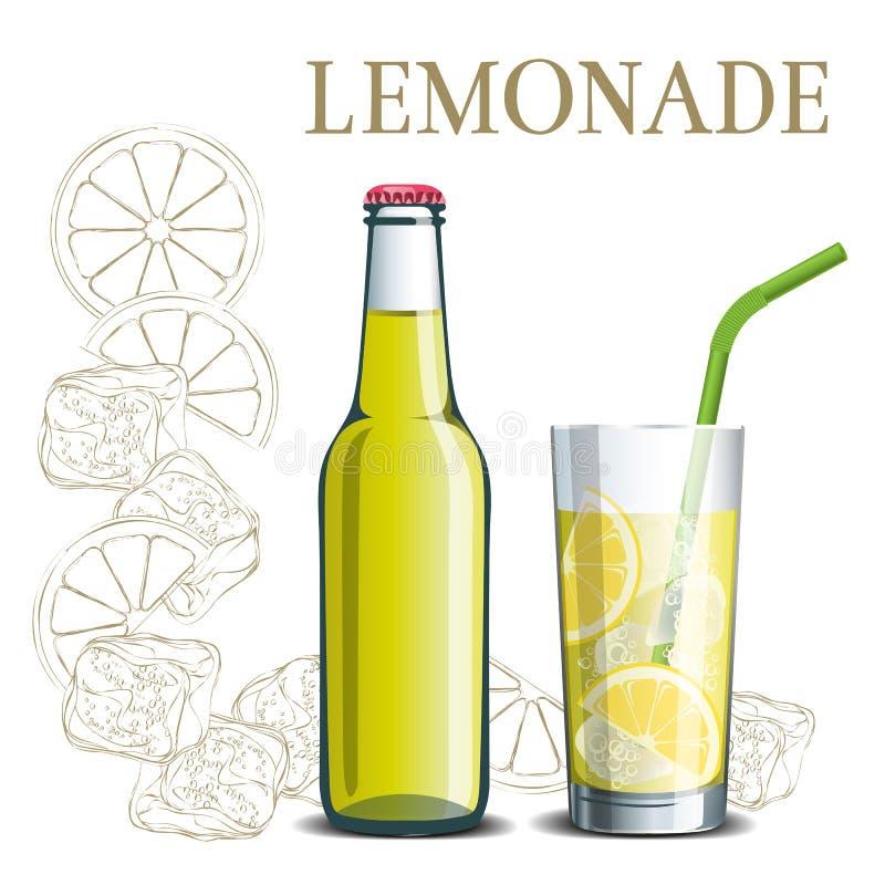 Fles limonade en een glas op de achtergrond van een schets stock illustratie