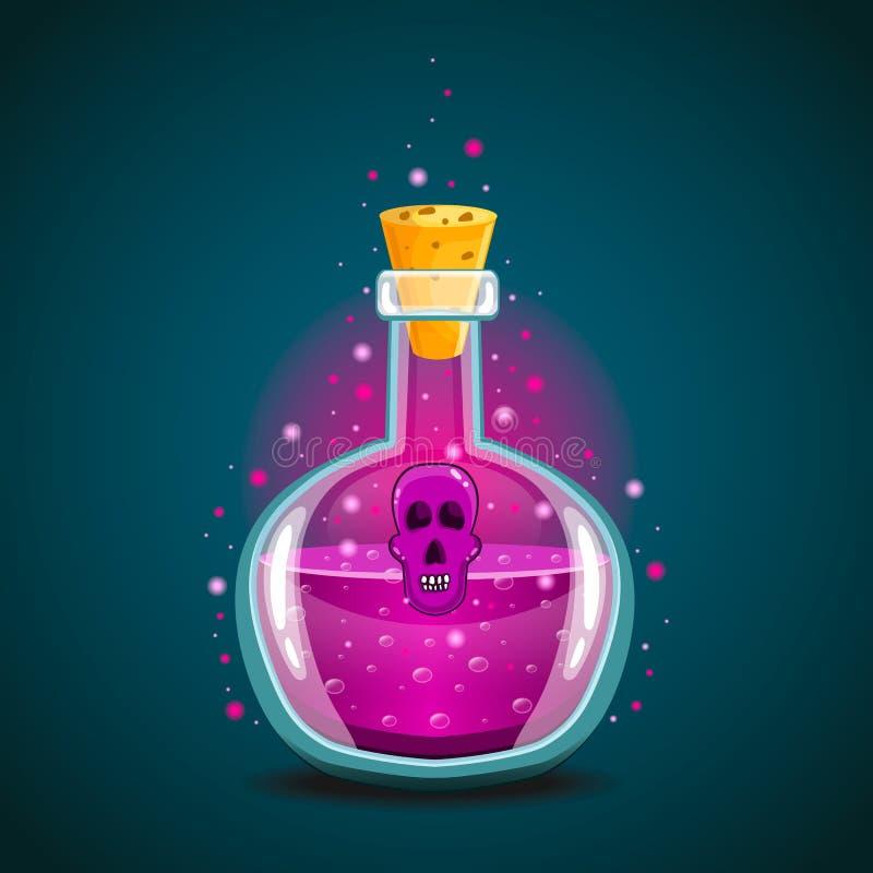 Fles magisch elixir met schedel-2 stock illustratie