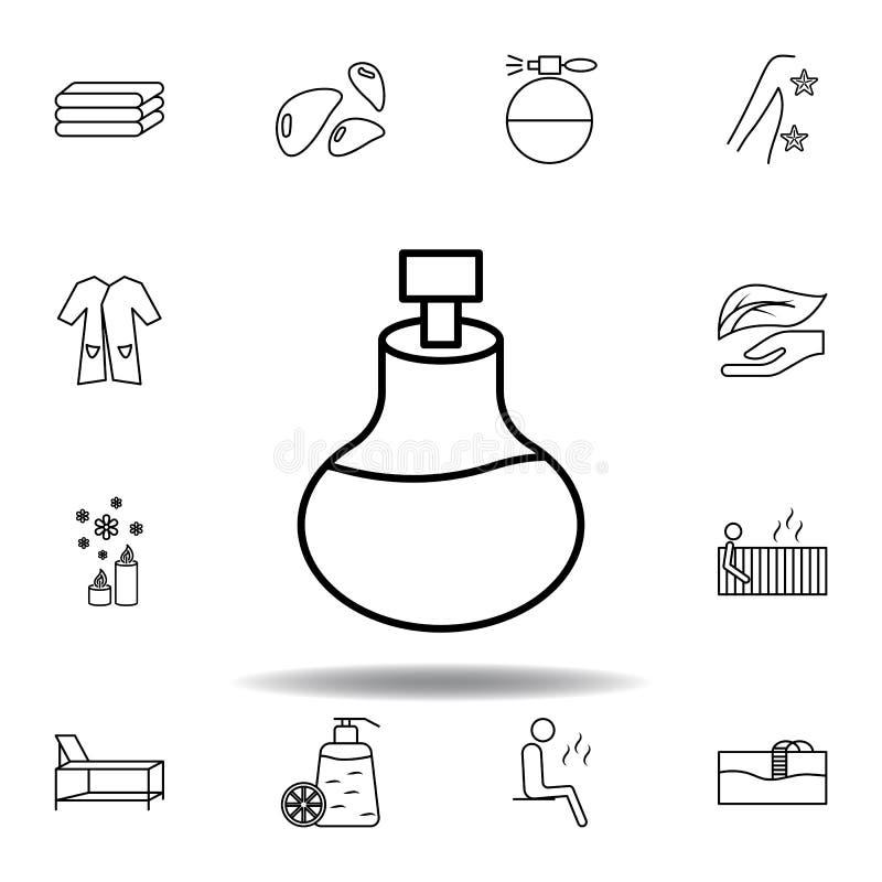 Fles, massageolie van aromatherapy overzichtspictogram De gedetailleerde reeks van kuuroord en ontspant illustratiespictogram Kan vector illustratie