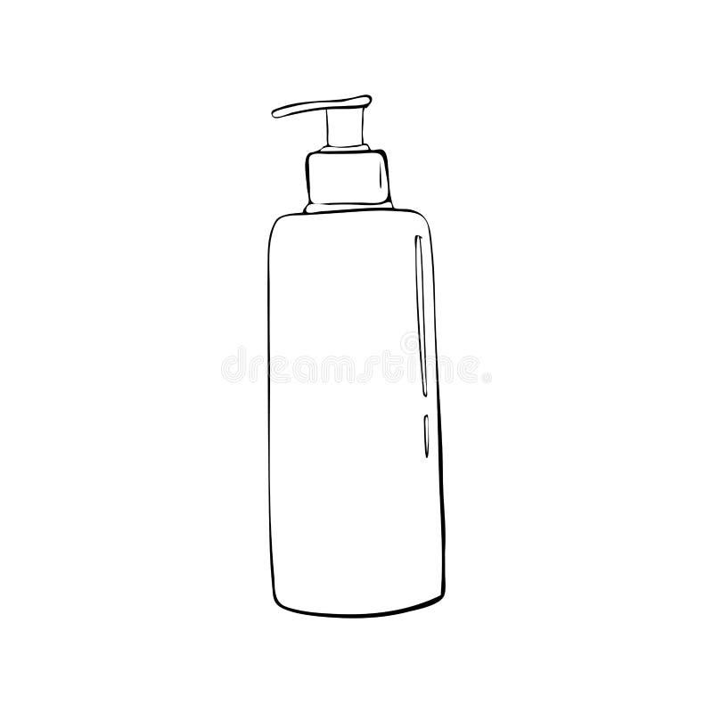 fles met automaat Kosmetisch pictogram In beeldverhaalstijl Hygiëne en gezondheidszorgillustratie schoonheidsobjecten zeep, lotio stock afbeelding