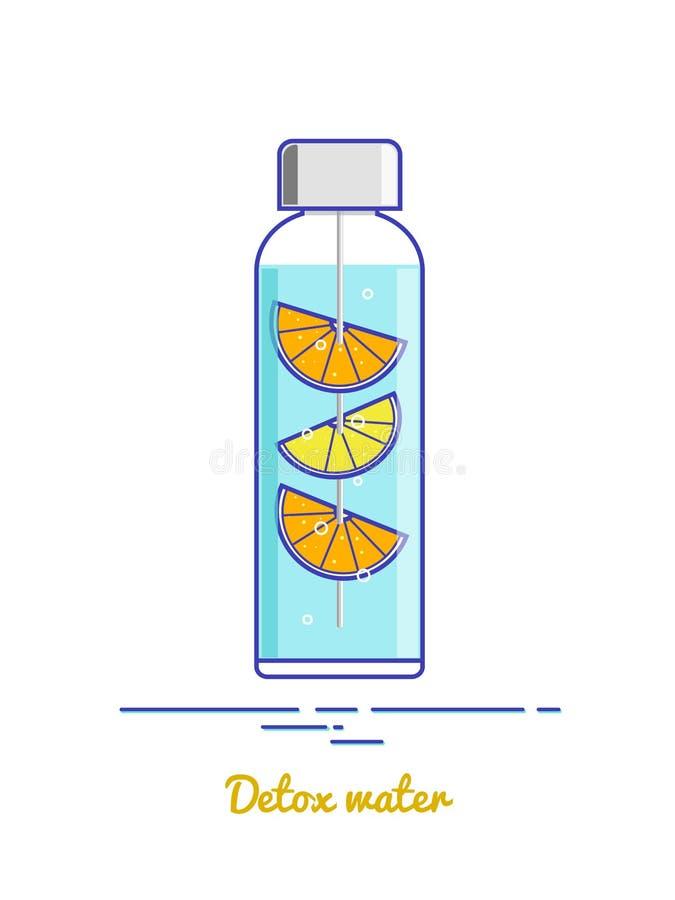 Fles met detoxwater op de witte achtergrond vector illustratie