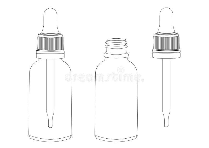 Fles met een pipet, vectoroverzichtstekening, contourbeeld, kleuring, zwart-witte illustratie Transparant leeg flesjeverstand stock illustratie