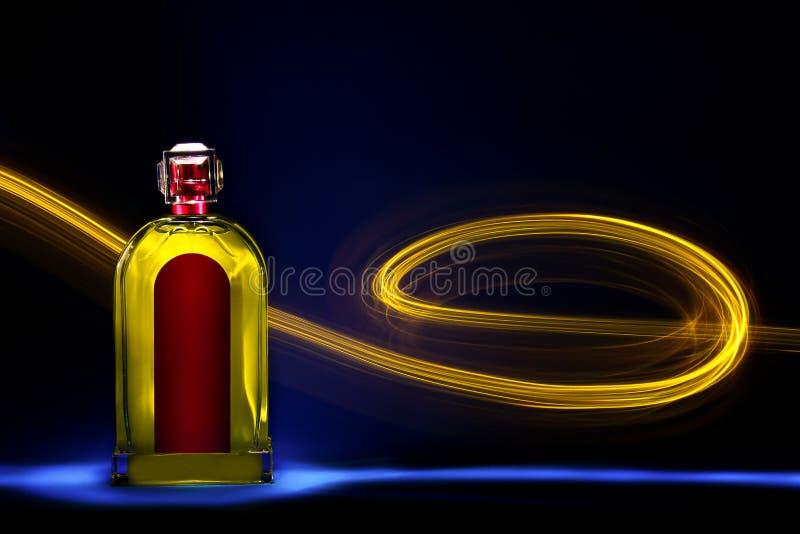 Fles met licht die 4 schilderen stock afbeelding