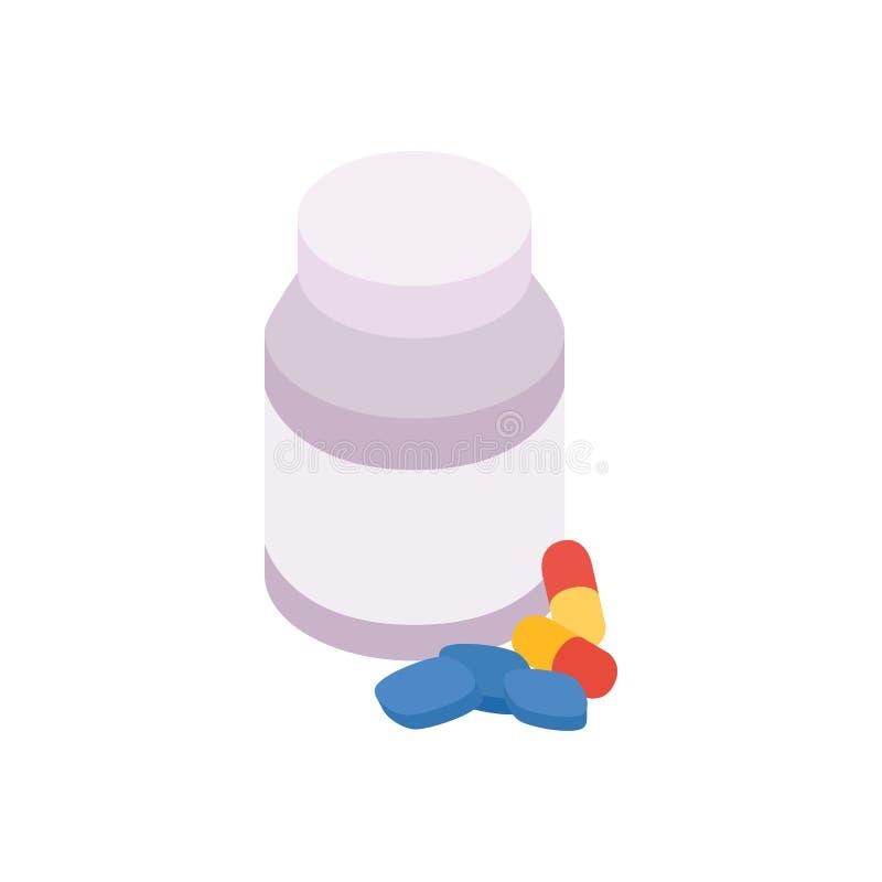 Fles met pillenpictogram, isometrische 3d stijl vector illustratie