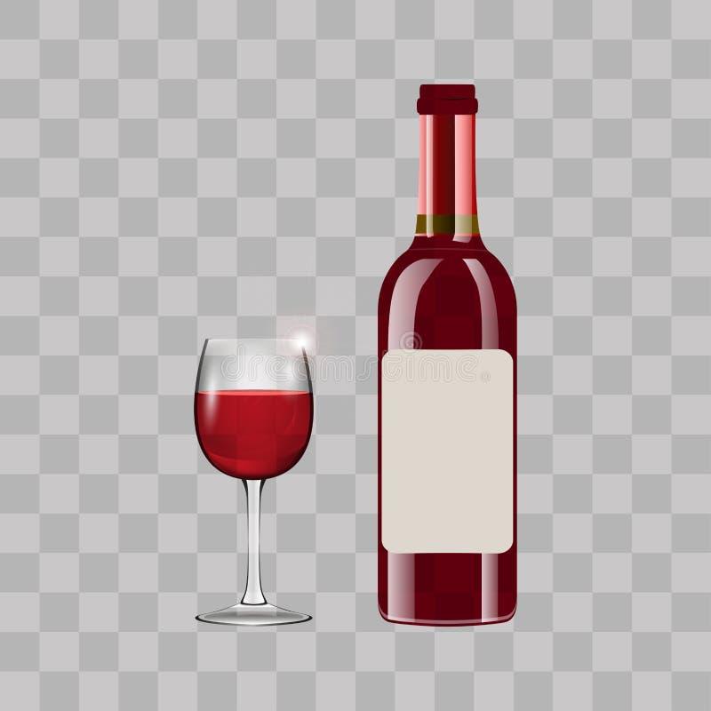 Fles met rode wijn en glas Vector royalty-vrije illustratie