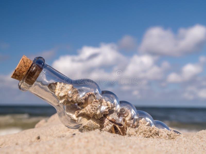 Fles met zeeschelpen royalty-vrije stock foto's