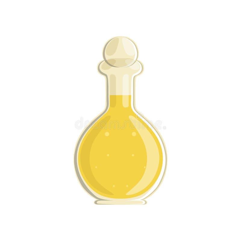 Fles met zonnebloem of olijfolie Het organische en gezonde eten Glasschip in vorm van fles Vlak vectorontwerp voor stock illustratie