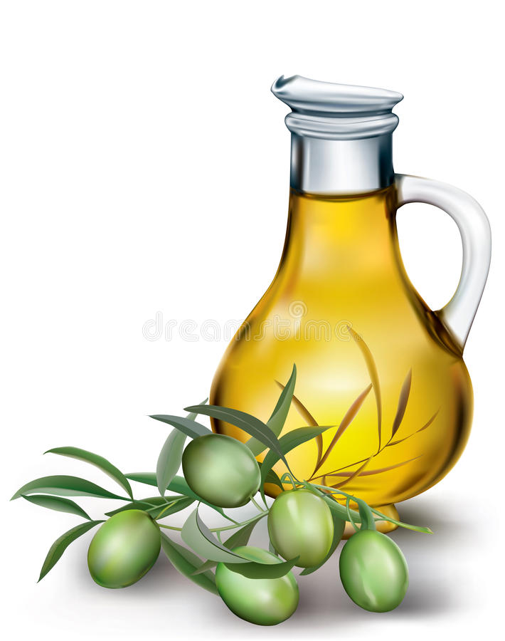 Fles olijfolie stock illustratie