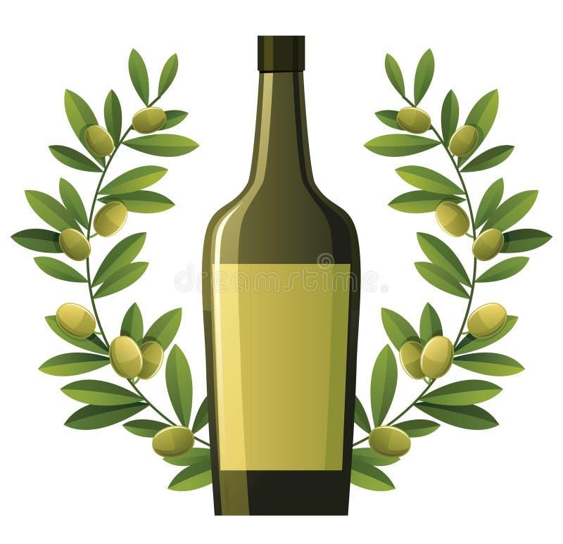 Fles olijfolie met kroon vector illustratie