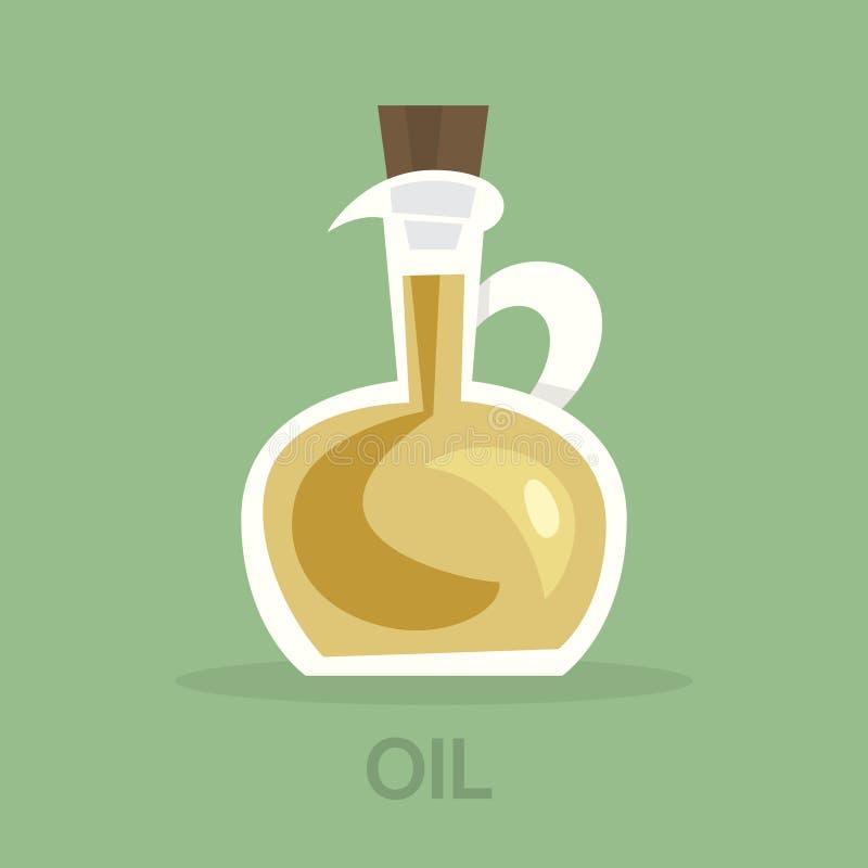 Fles olijfolie voor het koken van gezond voedsel stock illustratie