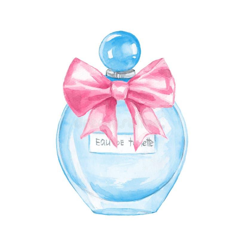 Fles parfum watercolor royalty-vrije illustratie
