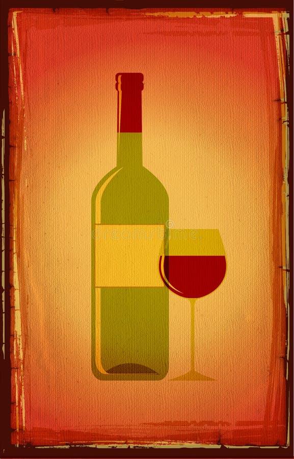 Fles rode wijn stock illustratie