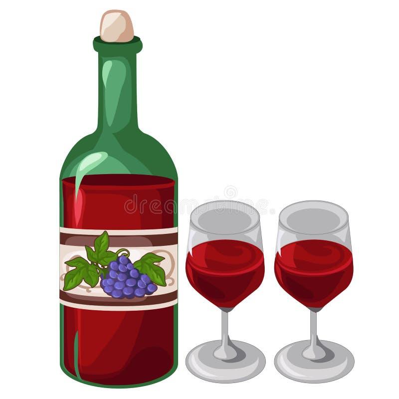 Fles rode wijn en twee gevulde glazen vector illustratie