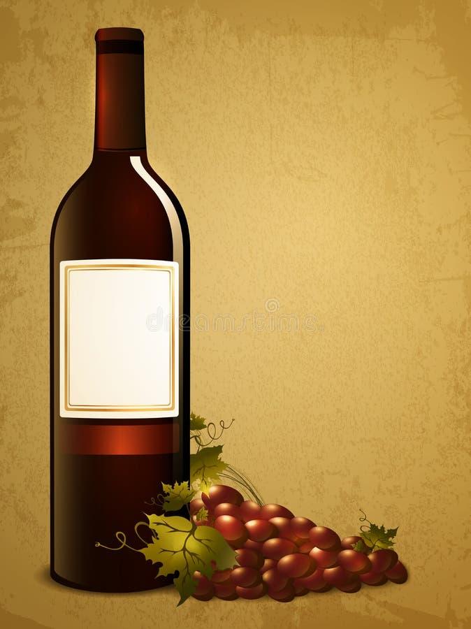 Fles rode wijn met druif stock illustratie