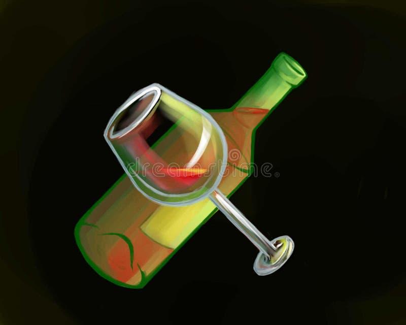Fles rode wijn met een glas vector illustratie
