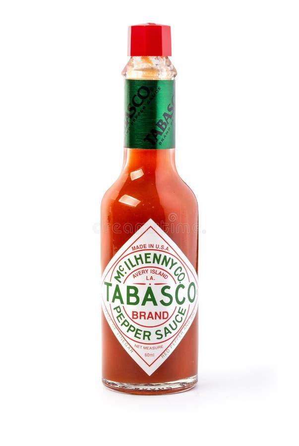 Fles Tabascosaus hete saus stock afbeeldingen